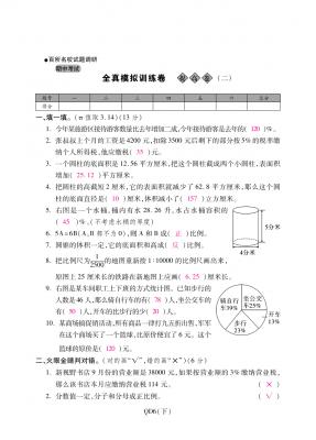 六年级下册数学试题-期中全真模拟训练卷提高卷(二) 青岛版(含答案)