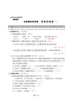 五年级下册语文试题-期末全真模拟训练卷普通学校卷(二) 人教新课标(含答案)