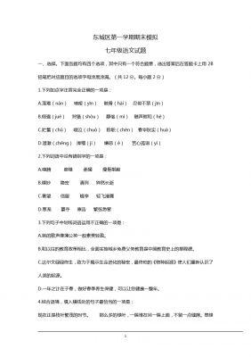 北京市东城区第一学期期末模拟七年级语文试卷