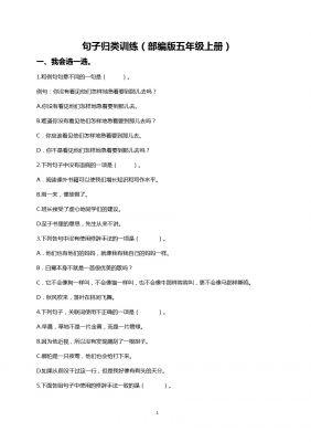 (部编版五年级上册)句子专项训练